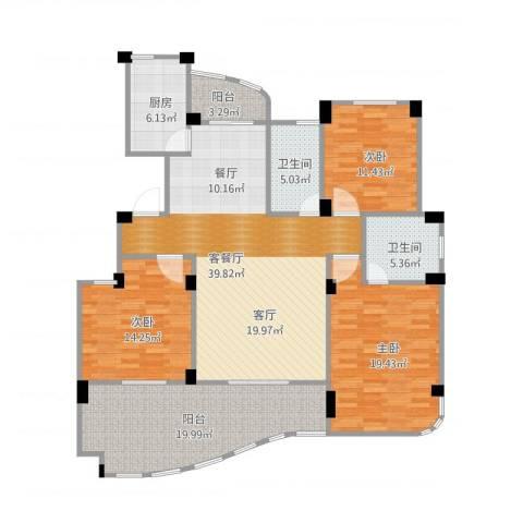 丁香花园3室2厅2卫1厨171.00㎡户型图