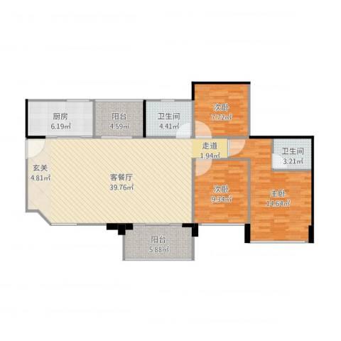 三鄉富和名都-名峰16棟01-04戶型3房2廳2衛3室2厅2卫1厨129.00㎡户型图
