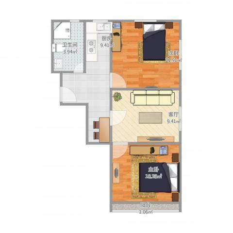 凌一小区2室1厅1卫1厨63.00㎡户型图