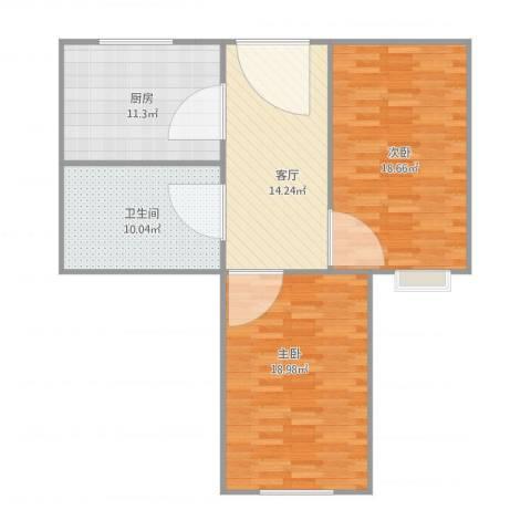 春竹大楼2室1厅1卫1厨98.00㎡户型图