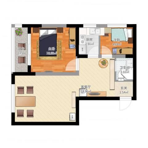 明泽园2室2厅1卫1厨71.00㎡户型图