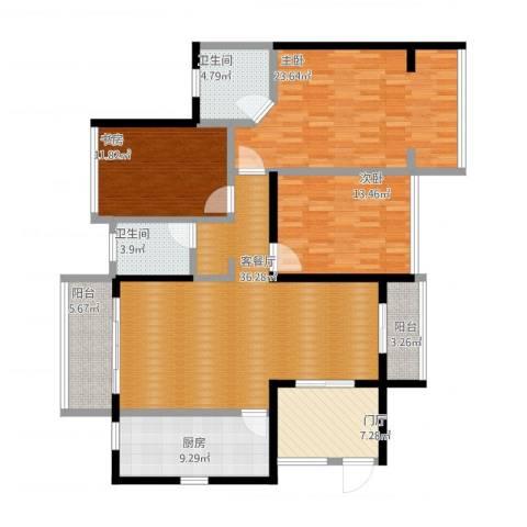 半岛花园3室2厅2卫1厨172.00㎡户型图