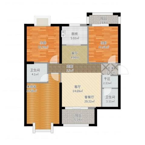 罗马景福城2室2厅2卫1厨102.39㎡户型图