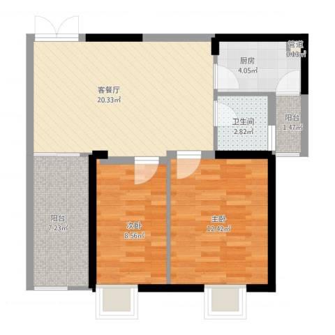红海名仕公馆2室2厅2卫1厨81.00㎡户型图