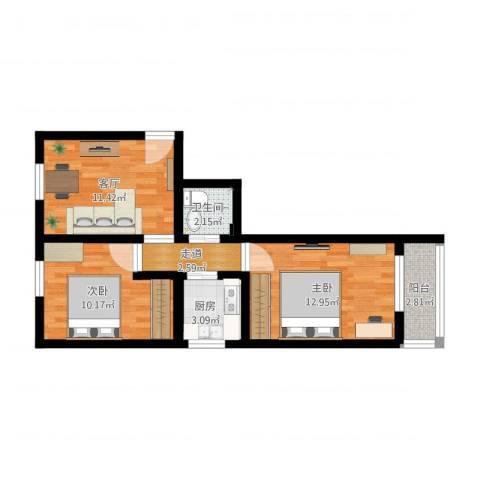 南顶村2室1厅2卫1厨63.00㎡户型图