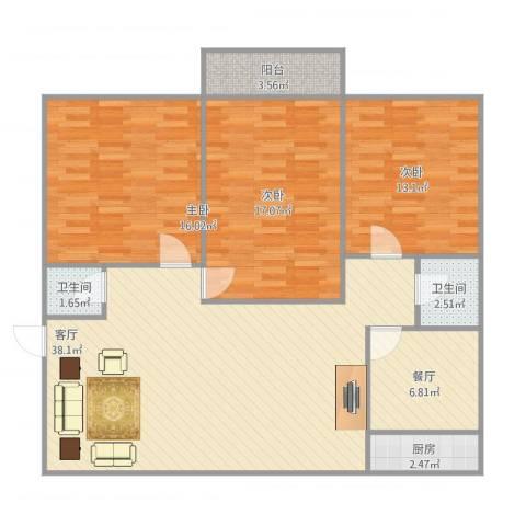 景苑花园3室2厅2卫1厨136.00㎡户型图