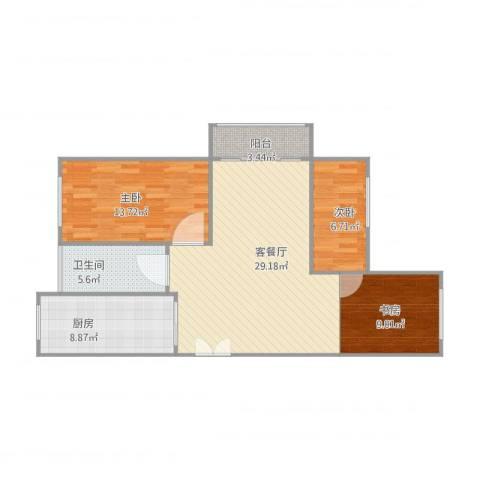 海韵嘉园17号楼10023室2厅1卫1厨103.00㎡户型图