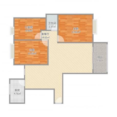 海韵嘉园20号楼10043室2厅1卫1厨110.00㎡户型图