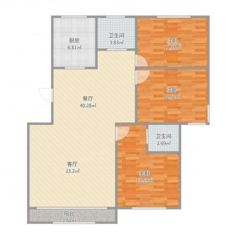 张杨南苑296弄3室1厅2卫1厨124.00㎡户型图