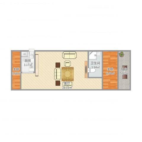 兴中公寓2室1厅1卫1厨69.00㎡户型图