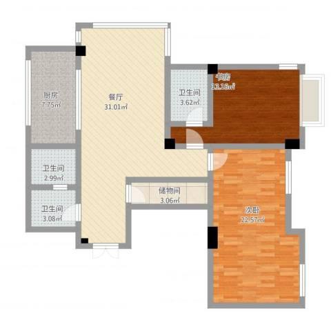 杨家滩花园2室1厅3卫1厨127.00㎡户型图