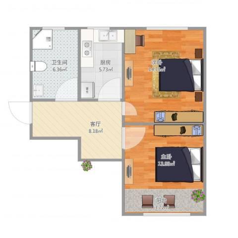 昌五小区2室1厅1卫1厨66.00㎡户型图