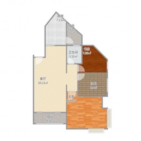 长城盛世家园3室1厅1卫1厨109.00㎡户型图