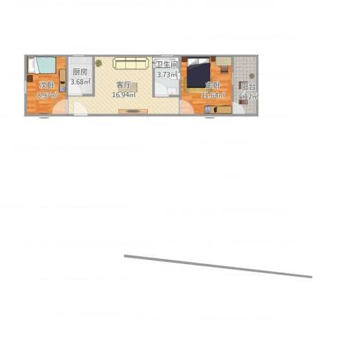 莘松五村2室1厅1卫1厨68.00㎡户型图