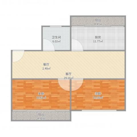 东升家园99弄五号二零一2室1厅1卫1厨119.00㎡户型图