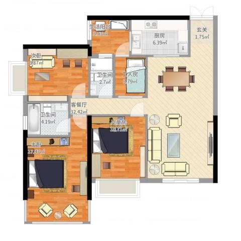 中怡城市花园3室2厅4卫1厨128.00㎡户型图