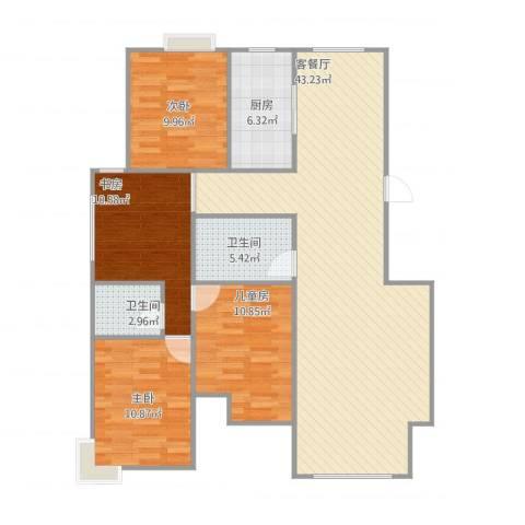 阳湖名城1534室2厅2卫1厨134.00㎡户型图