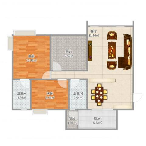 星河传说聚星岛A区2室1厅2卫1厨103.00㎡户型图