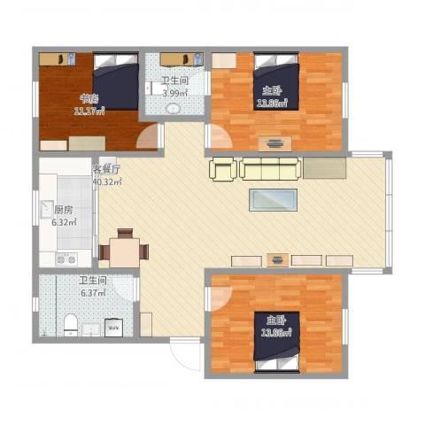 龙景花园3室2厅2卫1厨133.00㎡户型图