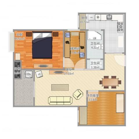 锦荷苑1室1厅2卫1厨94.02㎡户型图
