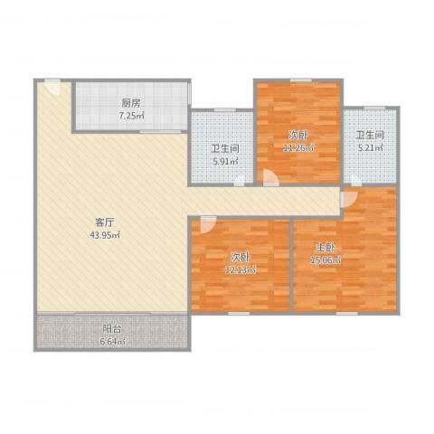 丽日华庭3室1厅2卫1厨144.00㎡户型图