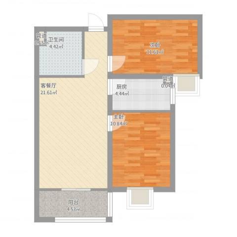 龙溪城2室2厅3卫1厨82.00㎡户型图