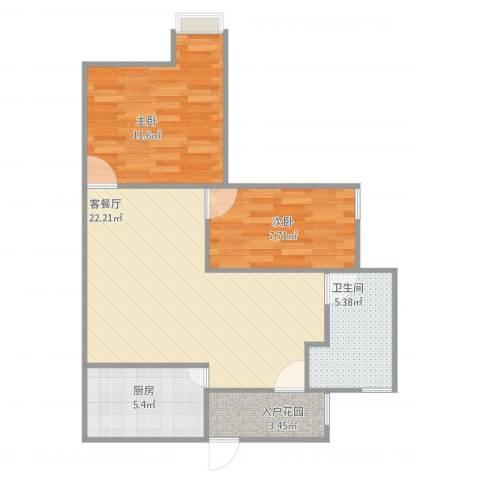 蓝天新苑2室2厅1卫1厨76.00㎡户型图