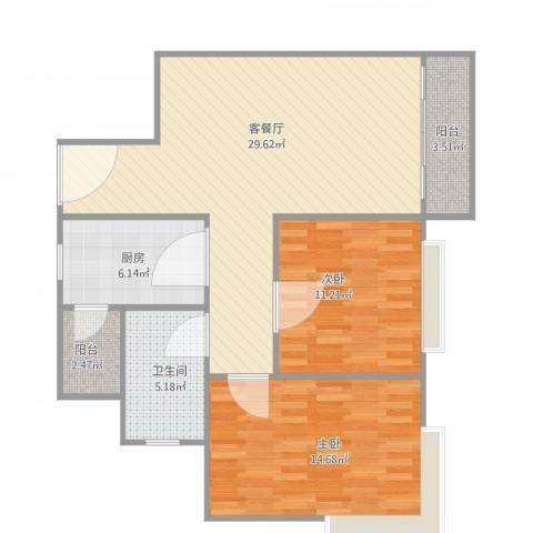 康格斯花园2室2厅1卫1厨98.00㎡户型图