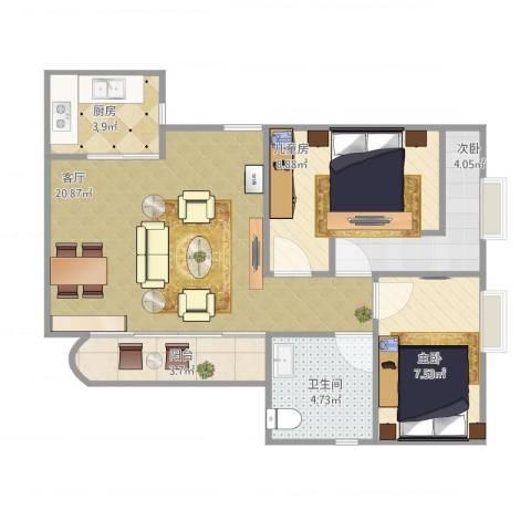 福景园3室1厅1卫1厨74.00㎡户型图