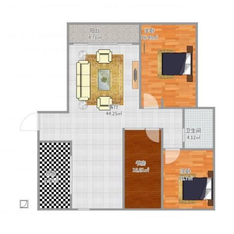 兴海苑3室1厅1卫1厨132.00㎡户型图