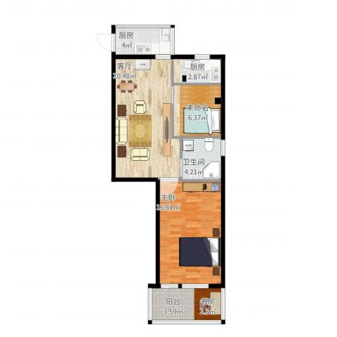 WeHouse1室1厅1卫2厨83.00㎡户型图