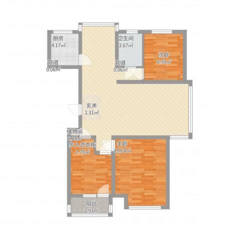 尚品名都二期3室2厅1卫1厨121.00㎡户型图