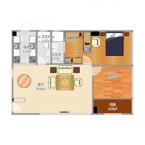 金山花园3室1厅2卫1厨92.00㎡户型图