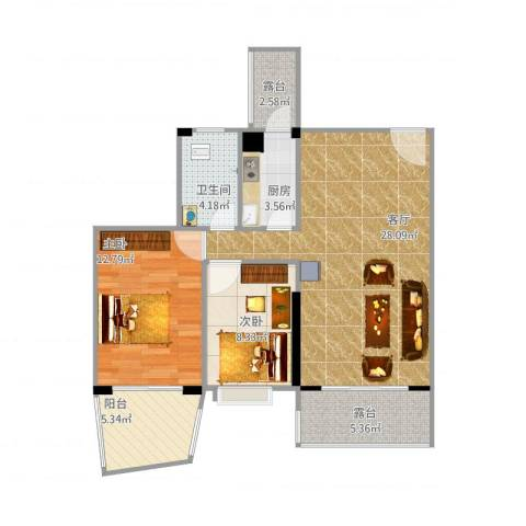 最新美景家园2室1厅1卫1厨96.00㎡户型图