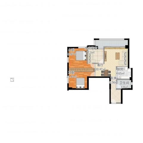 晓港湾2室1厅1卫1厨111.00㎡户型图