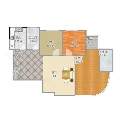 利景花园2室1厅2卫1厨145.00㎡户型图