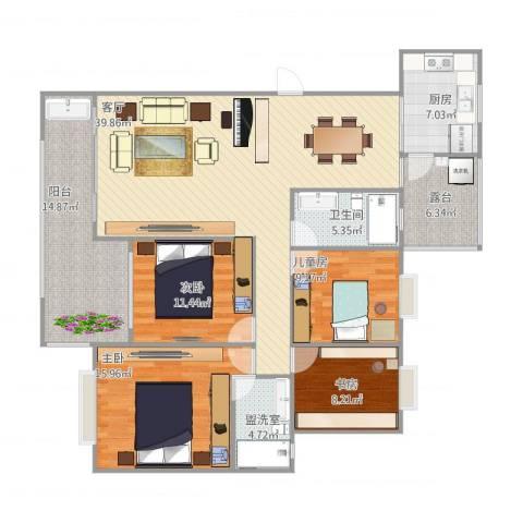 岭南世家二期4室3厅1卫1厨165.00㎡户型图