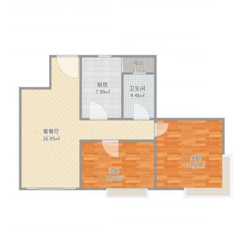 康格斯花园2室2厅1卫1厨90.00㎡户型图