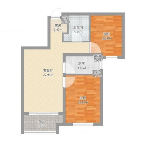 潮白河孔雀城・温莎郡2室2厅4卫1厨82.00㎡户型图