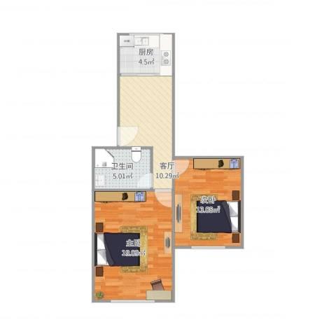春雷路431弄小区2室1厅1卫1厨70.00㎡户型图