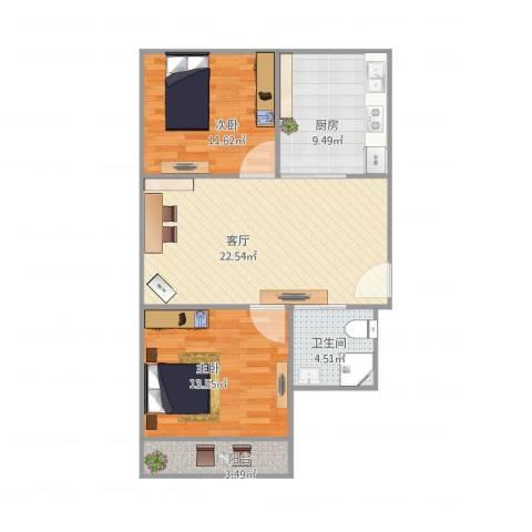 育秀一区2室1厅1卫1厨88.00㎡户型图