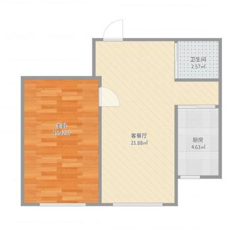蓝色港湾50多平1室2厅1卫1厨60.00㎡户型图