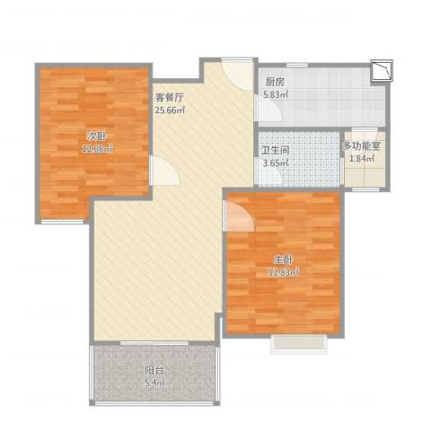 港鑫城2室2厅1卫1厨89.00㎡户型图
