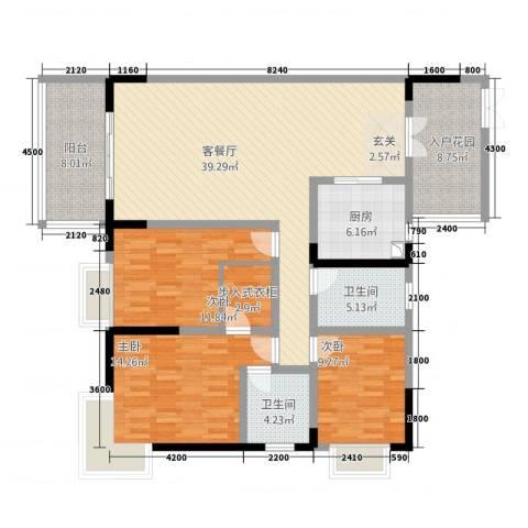 江南世家3室2厅2卫1厨136.00㎡户型图