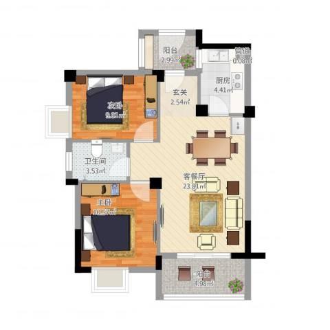 七里香苑云龙阁2室2厅2卫1厨85.00㎡户型图