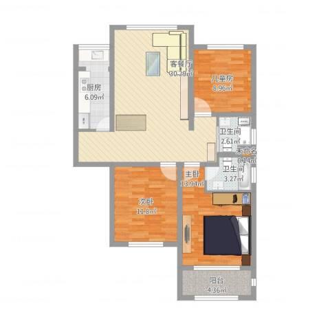 中祥哥德堡3室2厅2卫1厨118.00㎡户型图