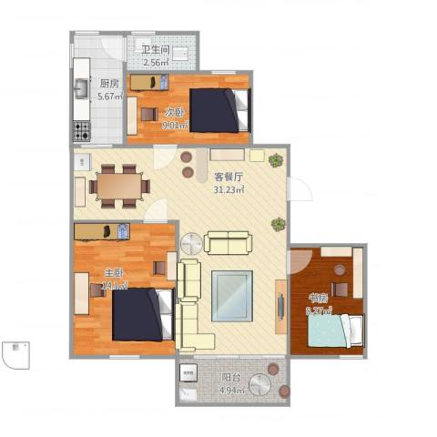 华侨新村3室2厅1卫1厨102.00㎡户型图