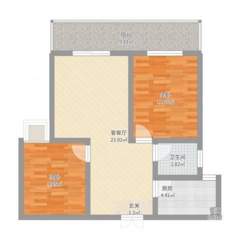 瑞祥花园2室2厅1卫1厨90.00㎡户型图