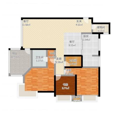 秀苑碧华庭居3室1厅2卫1厨186.00㎡户型图