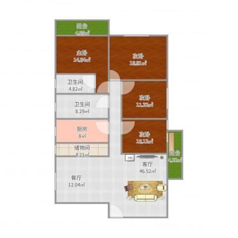 穗园小区4室1厅2卫1厨180.00㎡户型图